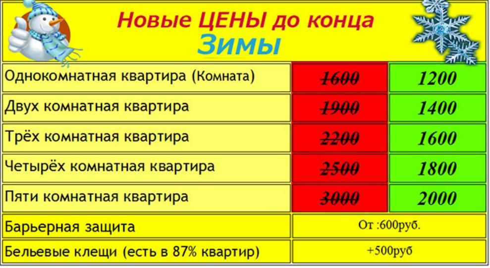 Цены услуг в «ДезСПб»