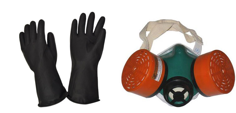 Перчатки и респиратор