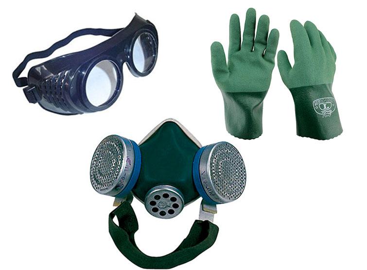 Очки, перчатки и респиратор