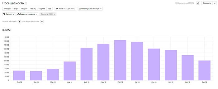 Статистика посещаемости сайта за период c 01.01.2018 по 31.12.2018