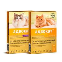 Капли Адвокат от блох и клещей для кошек