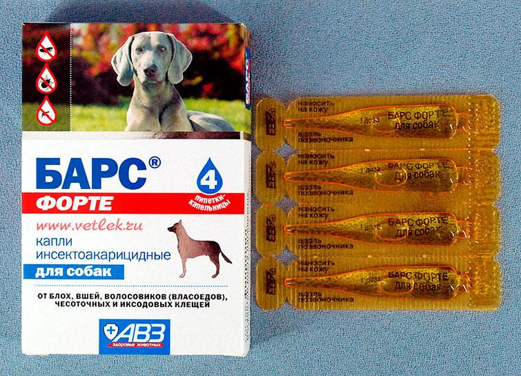 Капли Барс Форте от клещей для собак