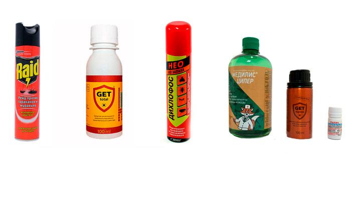 Химические препарата для избавления от личинок блох Raid, Get Total, Дихлофос, Медилис Ципер, Get Express, Палач