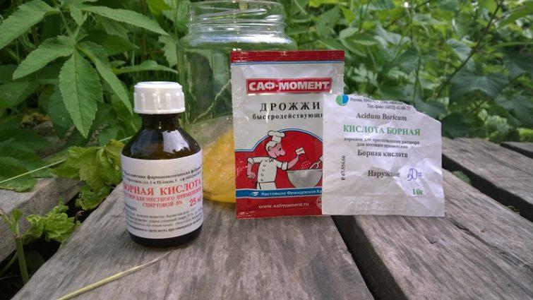 Использование дрожжей и сахара с борной кислотой