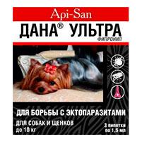 Капли для собак и щенков Дана Ультра до 10 кг: инструкция по применению и отзывы