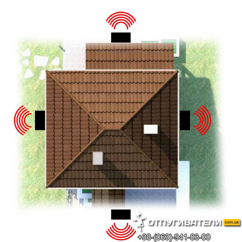 Барьерная защита дома от летучих мышей при помощи УЗ отпугивателей